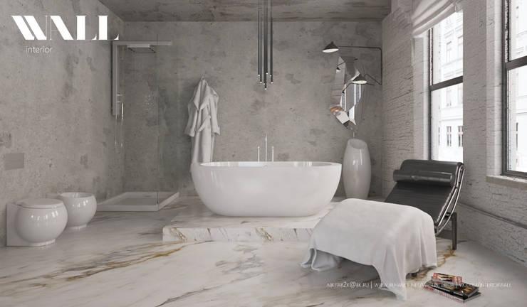 Квартира для холостяка в центре Санкт-Петербурга: Ванные комнаты в . Автор – ДИЗАЙНЕР ИНТЕРЬЕРА САНКТ-ПЕТЕРБУРГ