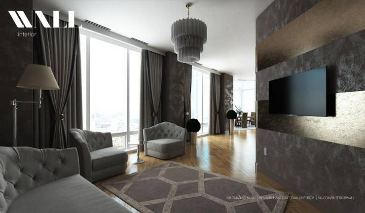 Двухэтажные апартаменты в стиле Арт-Деко: Гостиная в . Автор – ДИЗАЙНЕР ИНТЕРЬЕРА САНКТ-ПЕТЕРБУРГ