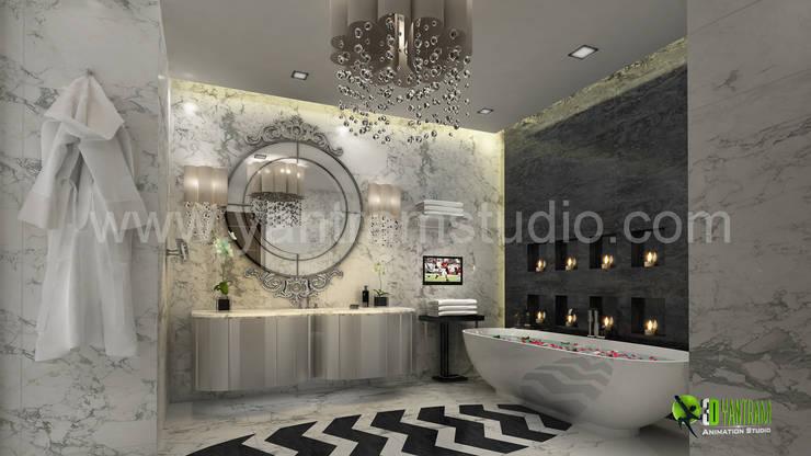 3D Interior Washroom Design Rendering:  Bathroom by Yantram Architectural Design Studio