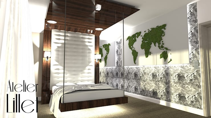 Sypialnia podróżniczki: styl , w kategorii Sypialnia zaprojektowany przez ATELIER LILLET Karolina Lewandowska,Nowoczesny