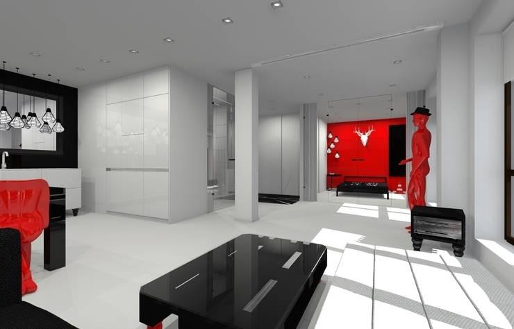 Apartament prywatny - Kielce.: styl , w kategorii Salon zaprojektowany przez PR Architects Sp z o. o. Pala&Rodek