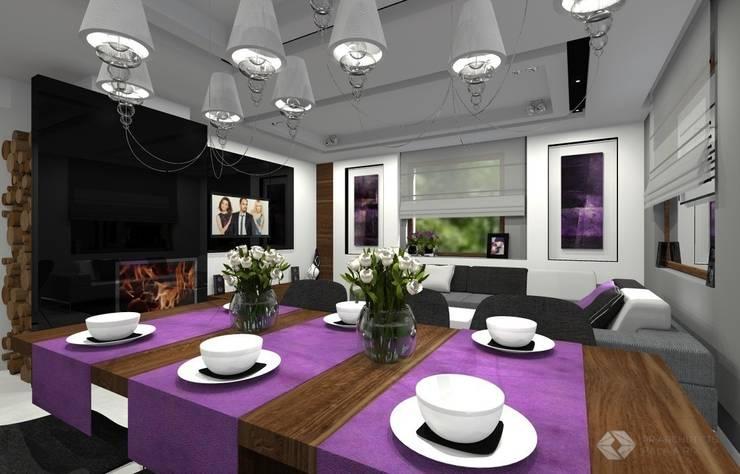 Dom jednorodzinny – Sławków.: styl , w kategorii Jadalnia zaprojektowany przez PR Architects Sp z o. o. Pala&Rodek