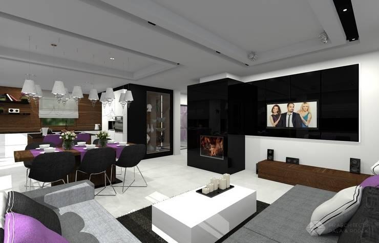 Dom jednorodzinny – Sławków.: styl , w kategorii Salon zaprojektowany przez PR Architects Sp z o. o. Pala&Rodek