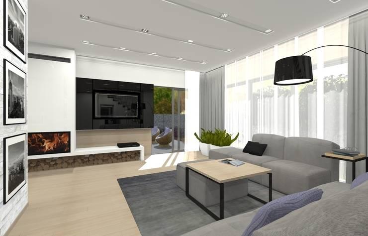 Dom jednorodzinny – Sosnowiec.: styl , w kategorii Salon zaprojektowany przez PR Architects Sp z o. o. Pala&Rodek