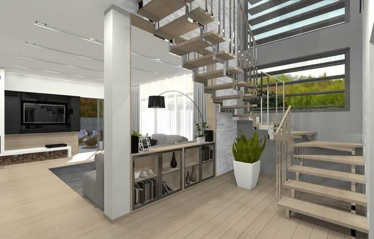 Dom jednorodzinny – Sosnowiec.: styl , w kategorii Korytarz, przedpokój zaprojektowany przez PR Architects Sp z o. o. Pala&Rodek