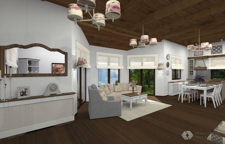 Dom jednorodzinny – Zator.: styl , w kategorii Salon zaprojektowany przez PR Architects Sp z o. o. Pala&Rodek