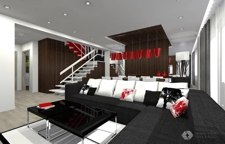 Dom jednorodzinny – Dąbrowa Górnicza.: styl , w kategorii Salon zaprojektowany przez PR Architects Sp z o. o. Pala&Rodek