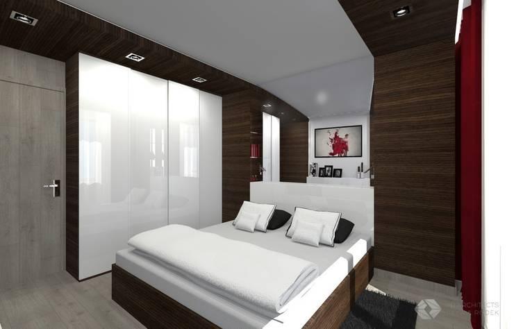 Dom jednorodzinny – Dąbrowa Górnicza.: styl , w kategorii Sypialnia zaprojektowany przez PR Architects Sp z o. o. Pala&Rodek