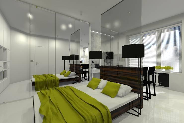 Mieszkanie prywatne – Warszawa Powiśle.: styl , w kategorii Sypialnia zaprojektowany przez PR Architects Sp z o. o. Pala&Rodek