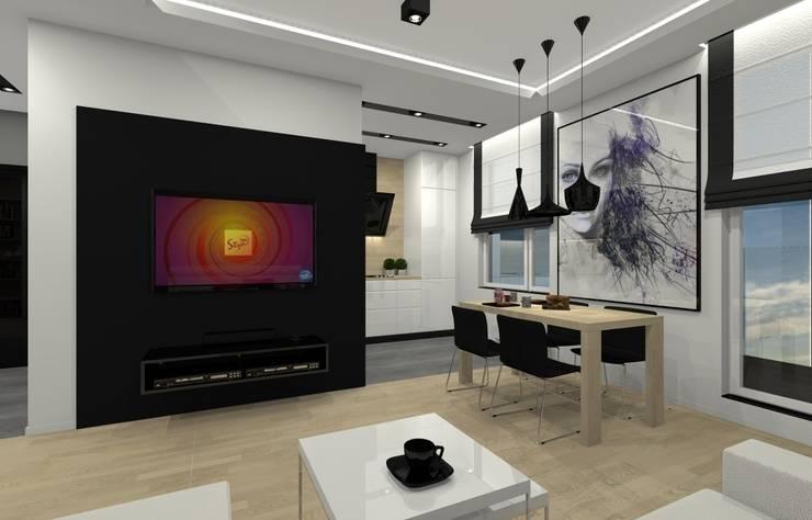 Mieszkanie prywatne - Chorzów.: styl , w kategorii Salon zaprojektowany przez PR Architects Sp z o. o. Pala&Rodek