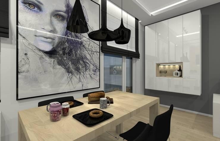 Mieszkanie prywatne – Chorzów.: styl , w kategorii Jadalnia zaprojektowany przez PR Architects Sp z o. o. Pala&Rodek