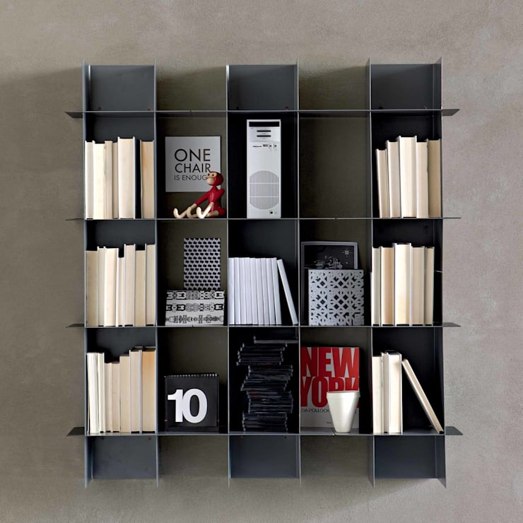 'Intrecci III' wall mounted bookcase by Santarossa:  Living room by My Italian Living