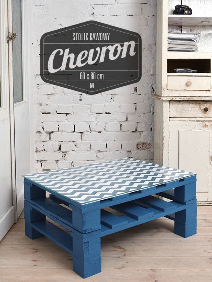 Stolik kawowy Chevron turkus/ Chevron turquise coffee table 60x80: styl , w kategorii  zaprojektowany przez Tailormade Furniture,Nowoczesny