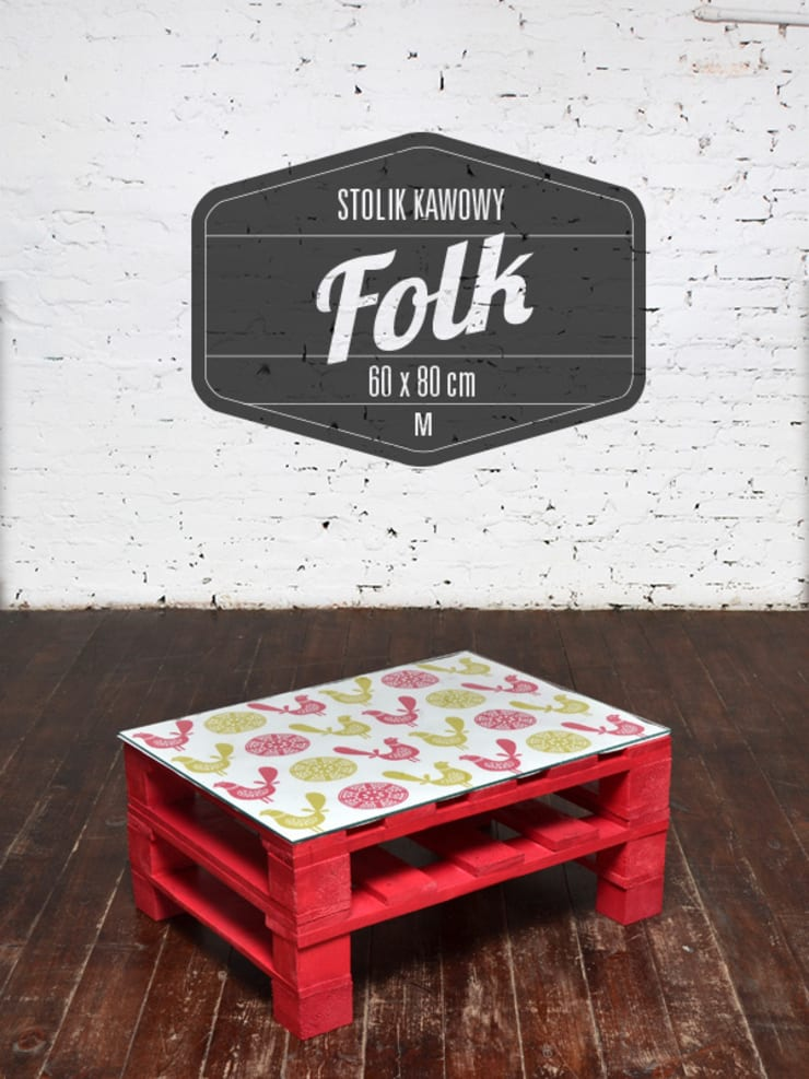 Stolik kawowy FOLK malina/ FOLK raspberry coffee table 60x80: styl , w kategorii Salon zaprojektowany przez Tailormade Furniture