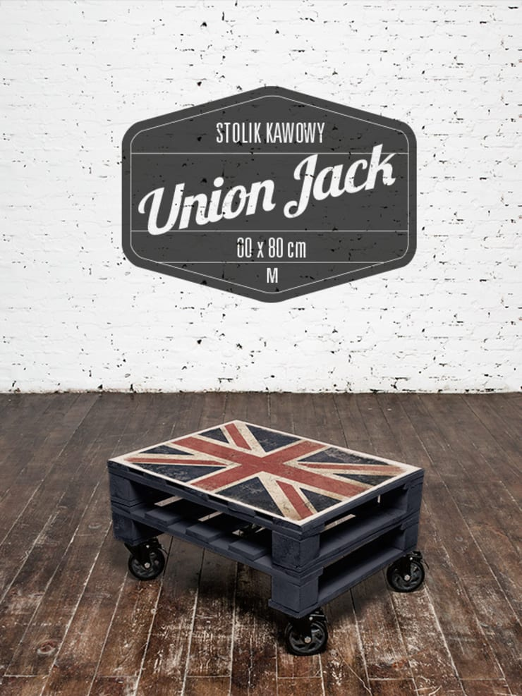 Stolik kawowy Union Jack/ Union Jack coffee table 60x80: styl , w kategorii  zaprojektowany przez Tailormade Furniture,Industrialny