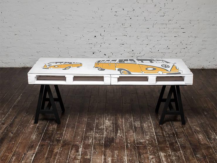 Biurko dwuosobowe Camper Żółty/ Camper Double Desk Yellow 70x200: styl , w kategorii  zaprojektowany przez Tailormade Furniture,Industrialny