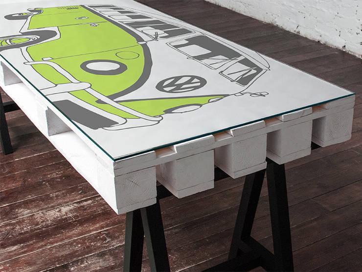 Biurko dwuosobowe Camper Limonka/ Camper Double Desk Lime 70x200: styl , w kategorii  zaprojektowany przez Tailormade Furniture,Industrialny