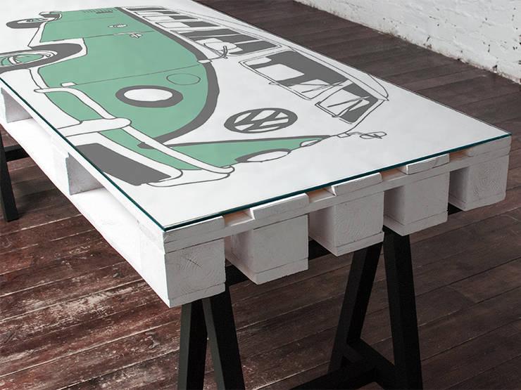 Biurko dwuosobowe Camper Mięta/ Camper Double Desk Mint 70x200: styl , w kategorii  zaprojektowany przez Tailormade Furniture,Industrialny