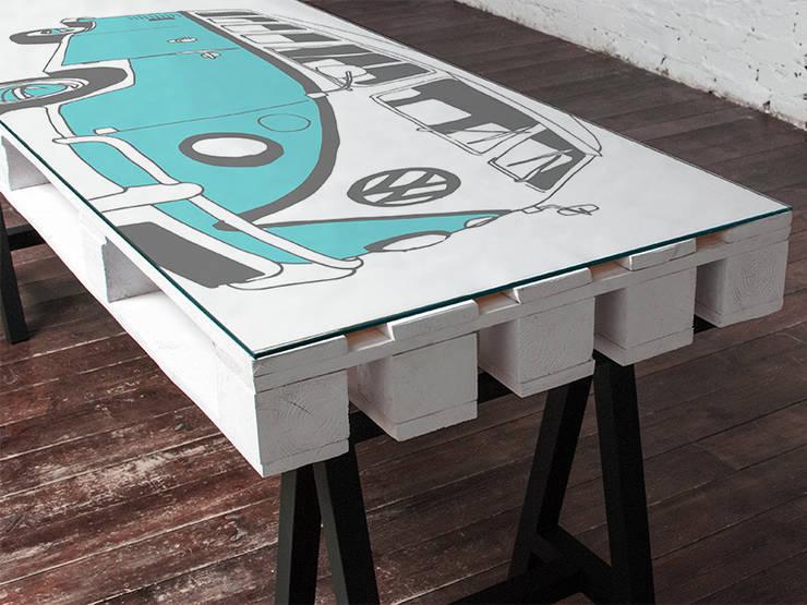 Biurko dwuosobowe Camper Turkus/ Camper Double Desk Turquise 70x200: styl , w kategorii  zaprojektowany przez Tailormade Furniture,Industrialny