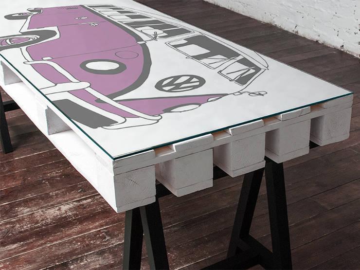 Biurko dwuosobowe Camper Wrzos/ Camper Double Desk Heather 70x200: styl , w kategorii  zaprojektowany przez Tailormade Furniture,Industrialny