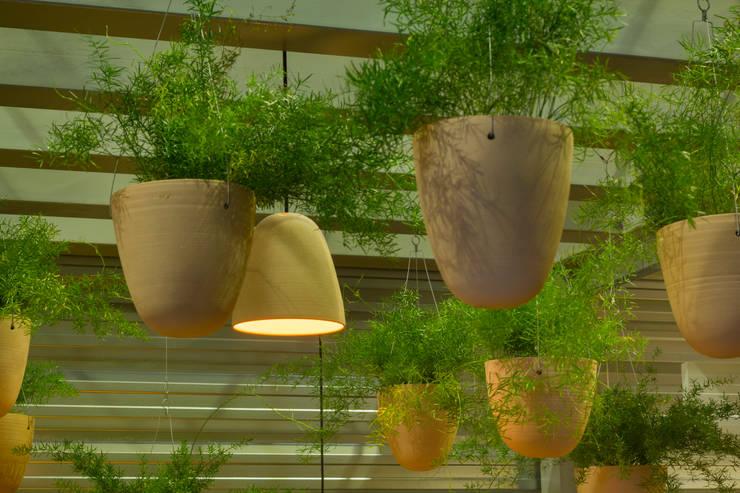 Cachepôs e luminárias pendentes: Paisagismo de interior  por Ateliê de Cerâmica - Flavia Soares