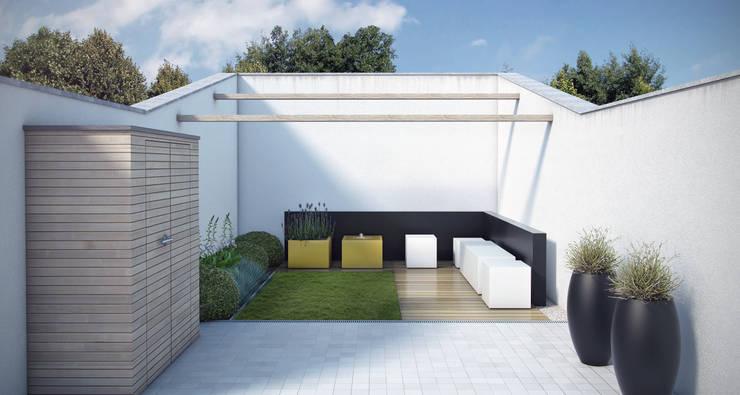 3D tuinontwerp kleine loungetuin van 400x800 cm: modern  door Tuinarchitectengroep ECO, Modern