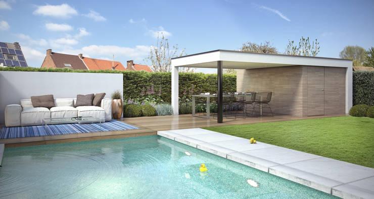 Loungetuin met zwembad en overdekt terras: modern  door Tuinarchitectengroep ECO, Modern