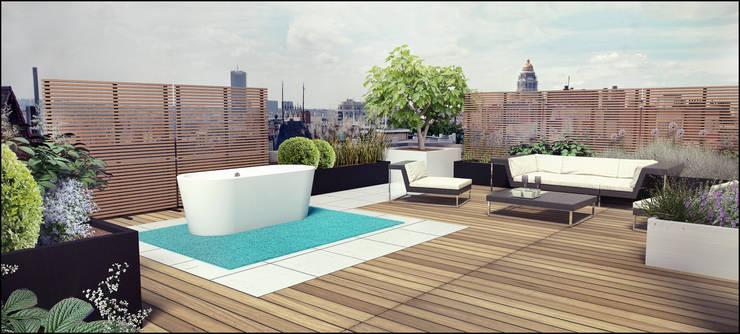 Daktuin/lounge: modern  door Tuinarchitectengroep ECO, Modern