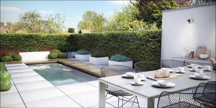 Loungetuin met ondiepe waterpartij: modern  door Tuinarchitectengroep ECO, Modern