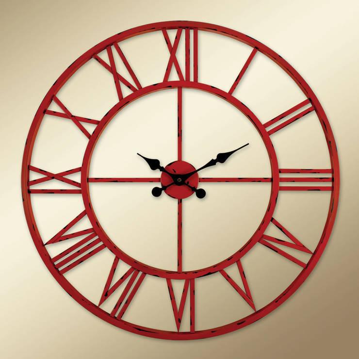 Otantik Çarşı – Eskitme Metal Duvar Saati  Kırmızı Renk:  tarz , Akdeniz