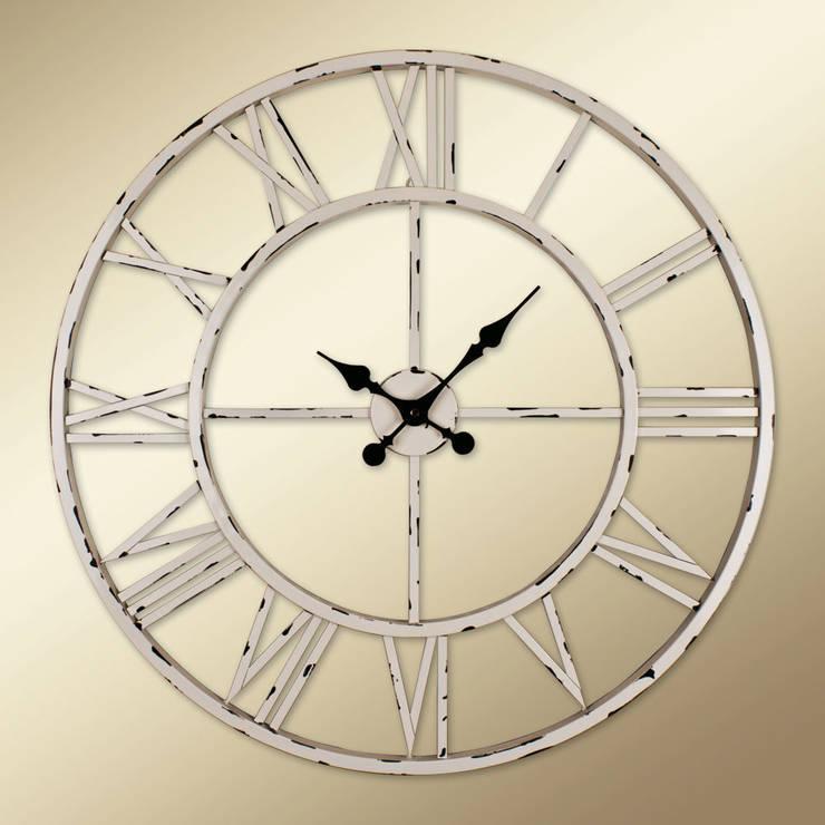 Otantik Çarşı – Eskitme Metal Duvar Saati Beyaz  Renk:  tarz Duvar & Zemin