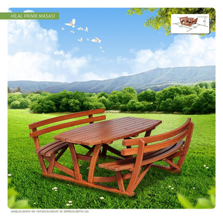 Otantik Çarşı – Hilal Piknik Masası:  tarz Bahçe