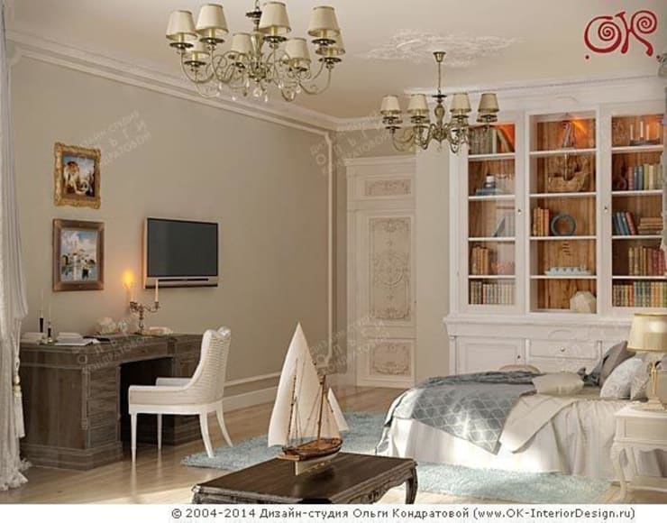 Кабинет в спальне: Спальни в . Автор – Дизайн студия Ольги Кондратовой