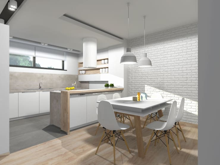 Projekt kuchni z jadalnią: styl , w kategorii Kuchnia zaprojektowany przez Tomasz Korżyński Design,Nowoczesny Cegły