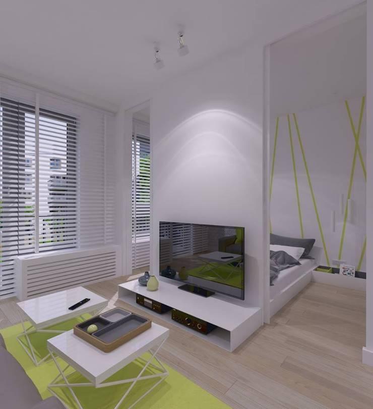 Mieszkanie na wynajem 31m2 Warszawa-Opcja I: styl , w kategorii Salon zaprojektowany przez The Vibe,