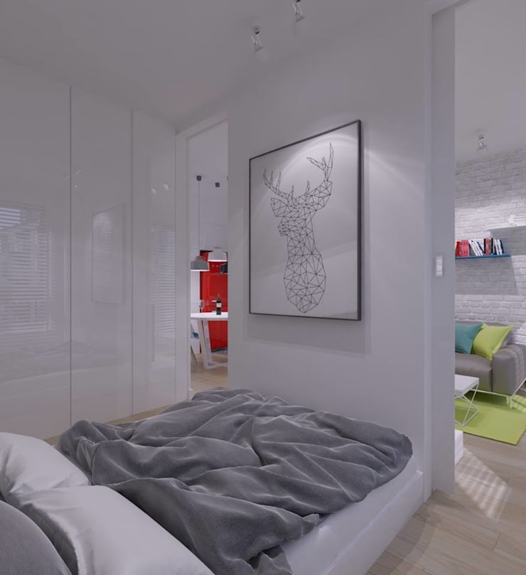 Mieszkanie na wynajem 31m2 Warszawa-Opcja I: styl , w kategorii Sypialnia zaprojektowany przez The Vibe,