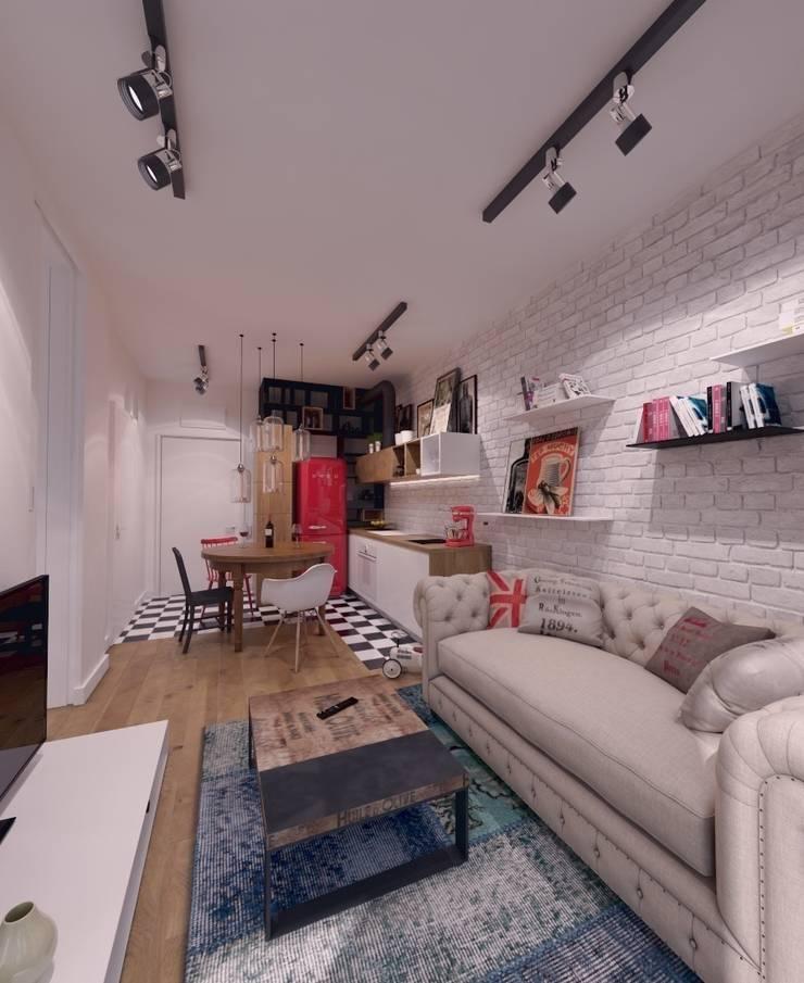 Mieszkanie na wynajem 31m2 Warszawa-Opcja II: styl , w kategorii Salon zaprojektowany przez The Vibe
