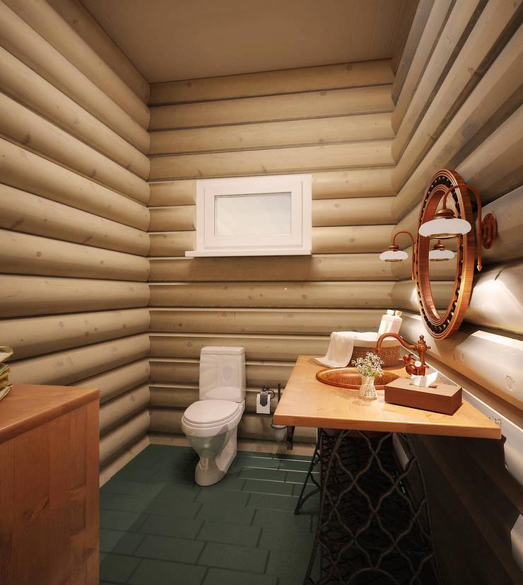 Загородный дом: Ванные комнаты в . Автор – Студия дизайна и декора Алины Кураковой