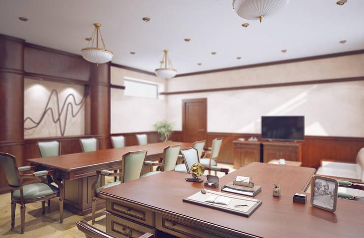 Кабинет руководителя: Рабочие кабинеты в . Автор – Студия дизайна и декора Алины Кураковой