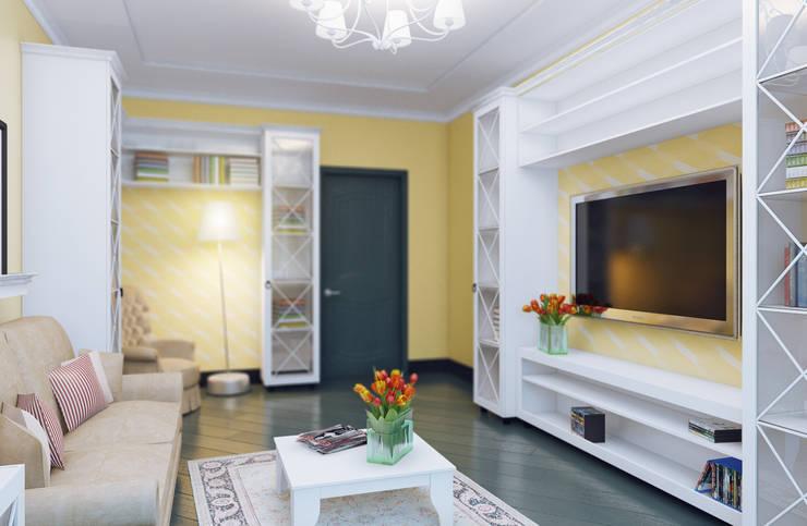 Уютная гостиная: Гостиная в . Автор – Студия дизайна и декора Алины Кураковой, Эклектичный