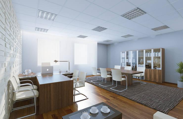 Современный кабинет, для руководителя среднего звена: Офисные помещения в . Автор – Студия дизайна и декора Алины Кураковой