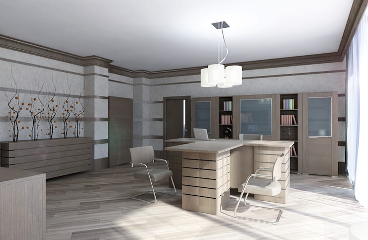 Кабинет для руководителя: Офисные помещения в . Автор – Студия дизайна и декора Алины Кураковой