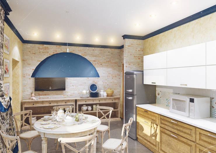 Кухня в частном доме: Кухни в . Автор – Студия дизайна и декора Алины Кураковой, Кантри