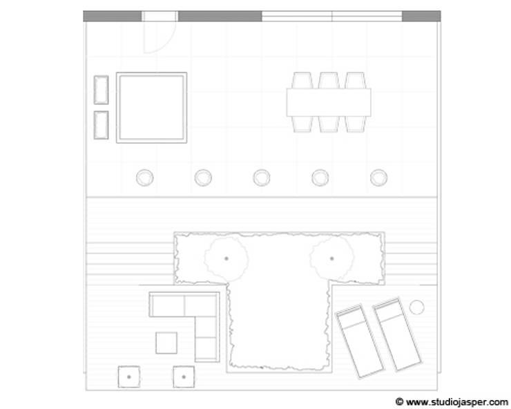Tekening tuin: modern  door Studio Jasper Interior | Furniture, Modern