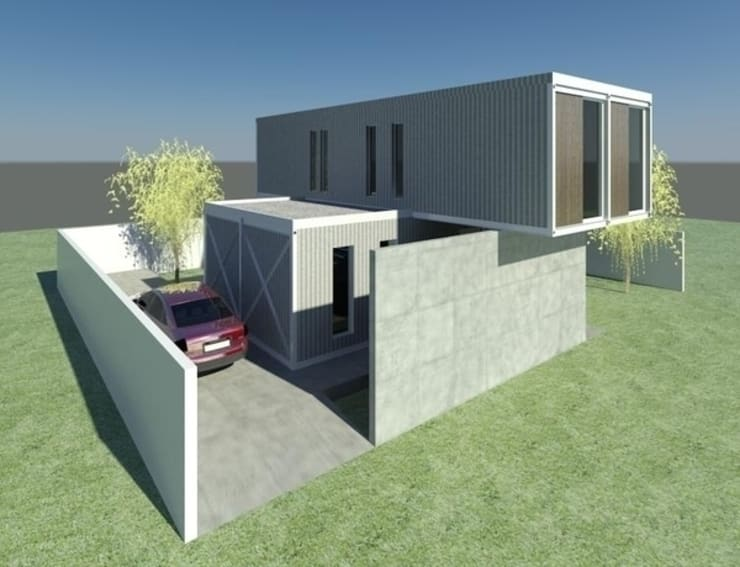 CASA CONTAINER – INSIDE BOX Casas industriais por ESTUDIO ARK IT Industrial