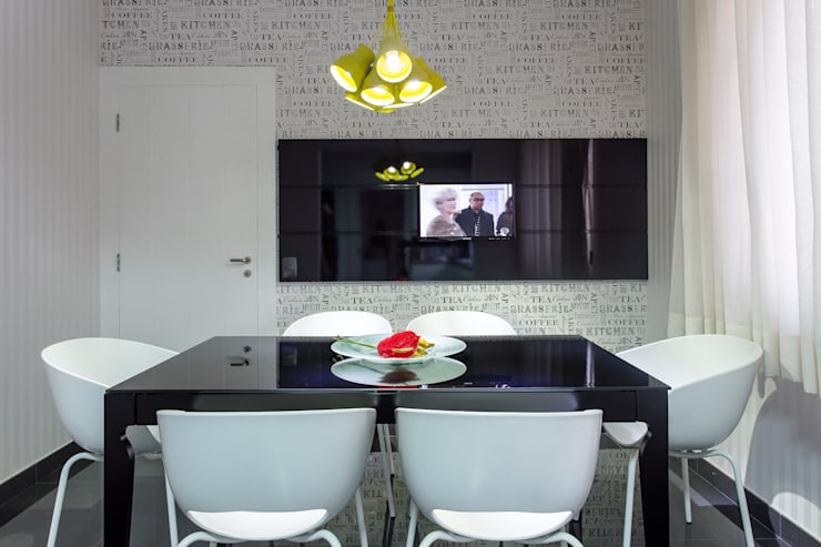 Sala de almoço integrada à cozinha: Cozinhas modernas por Helen Granzote Arquitetura e Interiores