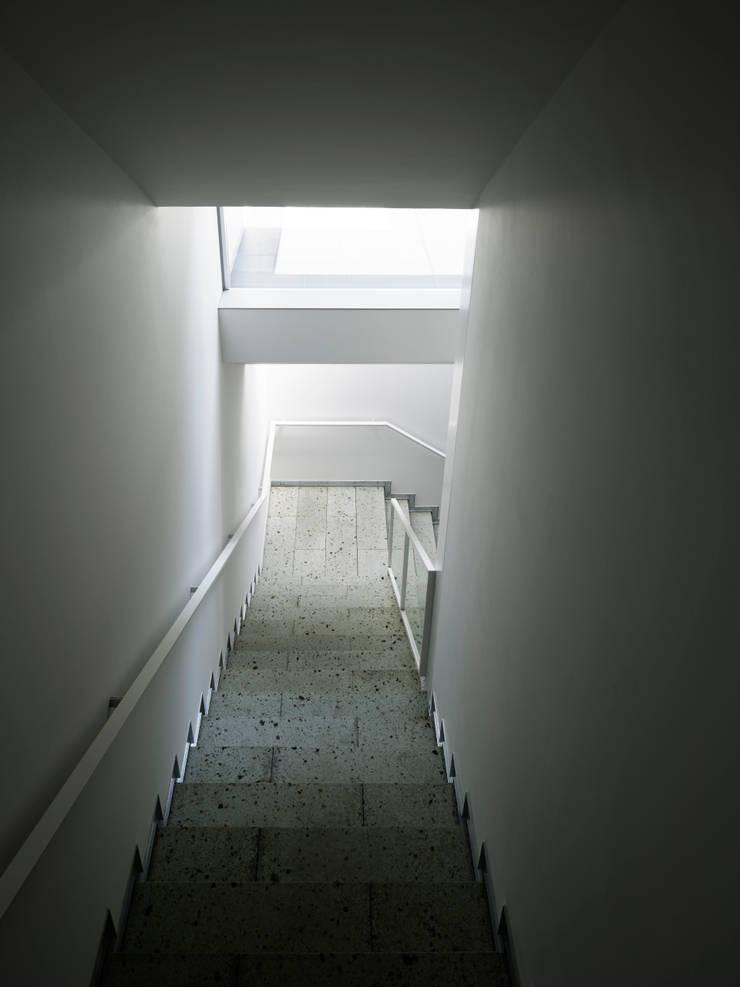 地階ね繋がる階段: 久保田章敬建築研究所が手掛けたオフィスビルです。,