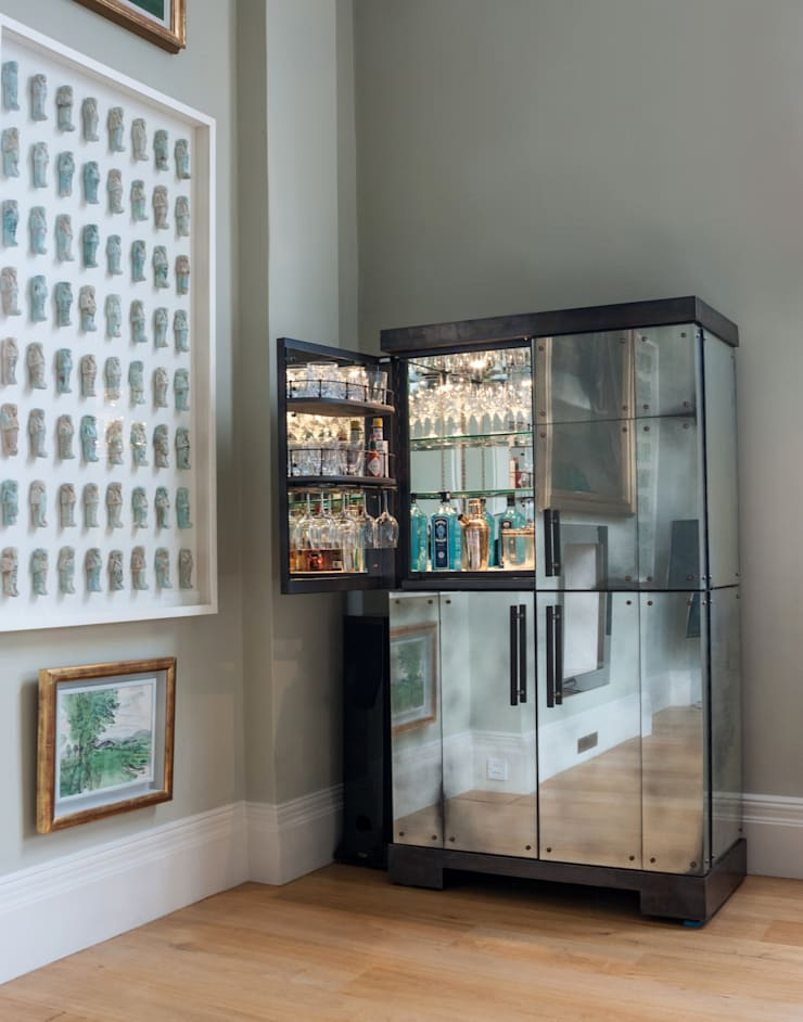 Cocktail Cabinet with Antiqued Mirror Glass:  Dining room by Rupert Bevan Ltd