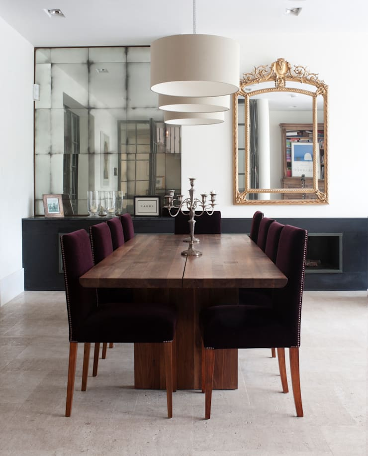 Dining Area Alcove Mirrors:  Dining room by Rupert Bevan Ltd