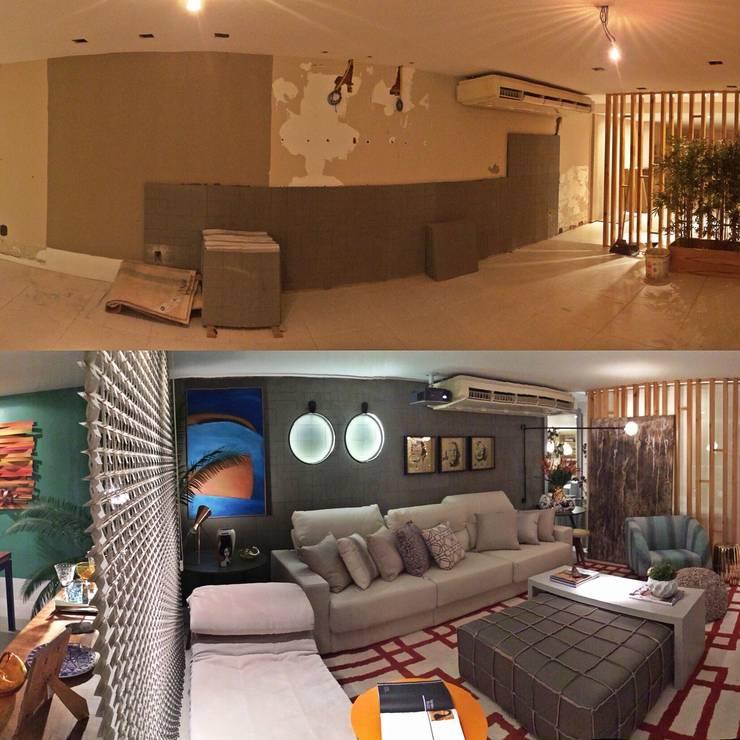 TRANSFORMAÇÃO Salas de estar ecléticas por Fabio Pantaleão Arquitetura+Interiores Eclético